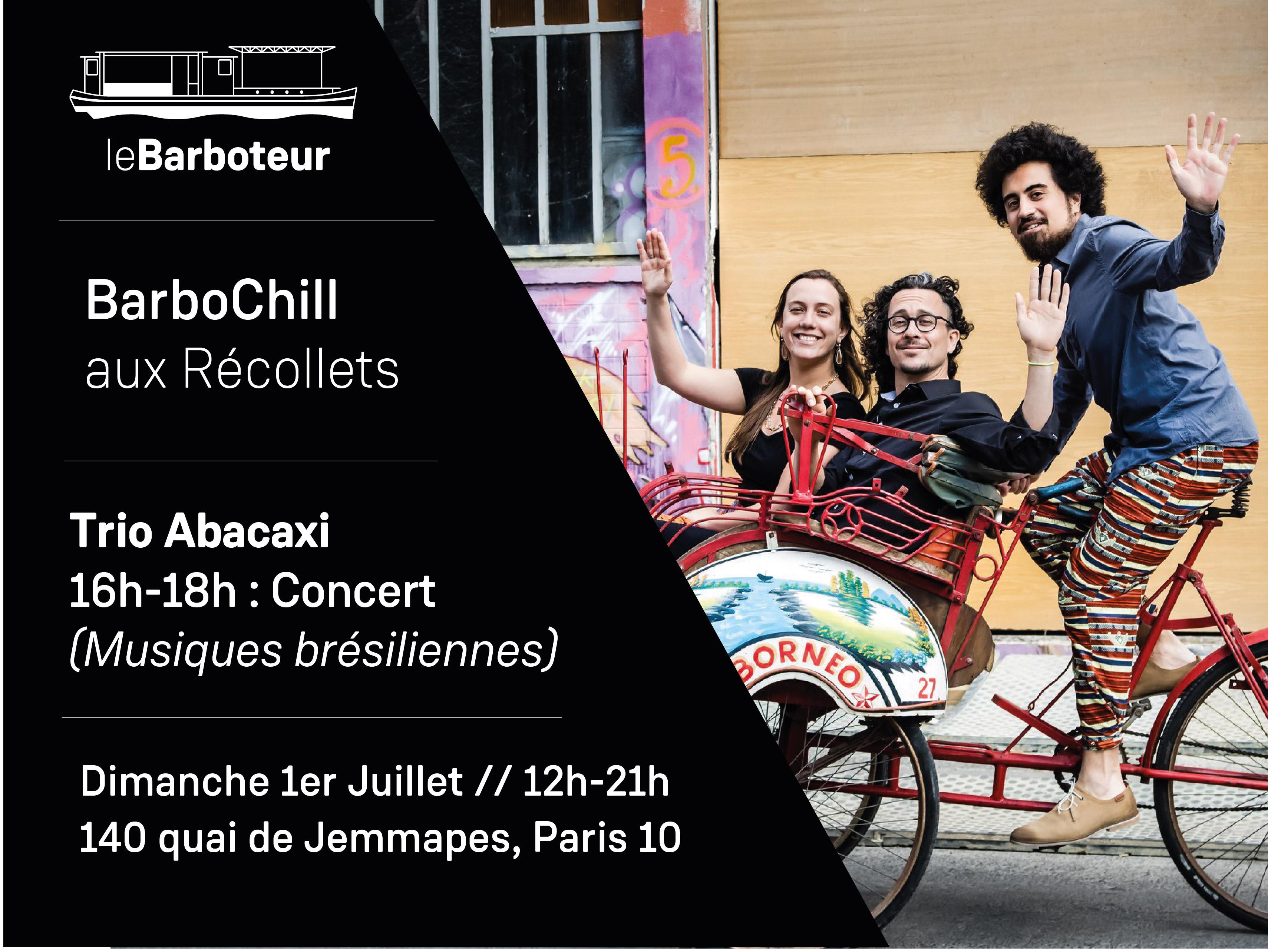 Trio Abacaxi en concert sur le Barboteur