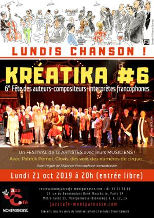 Lundis Chanson ! Kréatika #6 au Jazz Café Montparnasse