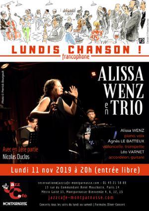 Lundis Chanson ! Alissa Wenz en Trio au Jazz Café Montparnasse