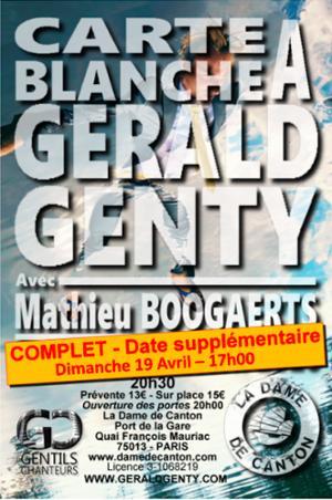 3ième 1/2 CARTE BLANCHE À GÉRALD GENTY AVEC MATHIEU BOOGAERTS