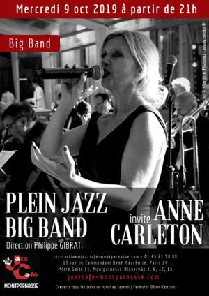 Plein Jazz Big Band invite Anne Carleton au Jazz Café Montparnasse