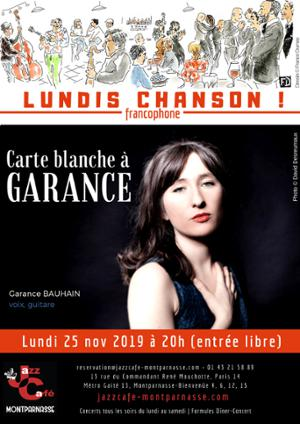 Lundis Chanson ! Carte blanche à Garance au Jazz Café Montparnasse