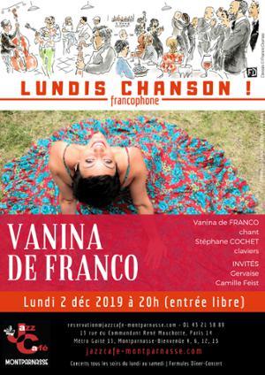 Lundis Chanson ! Vanina de Franco au Jazz Café Montparnasse