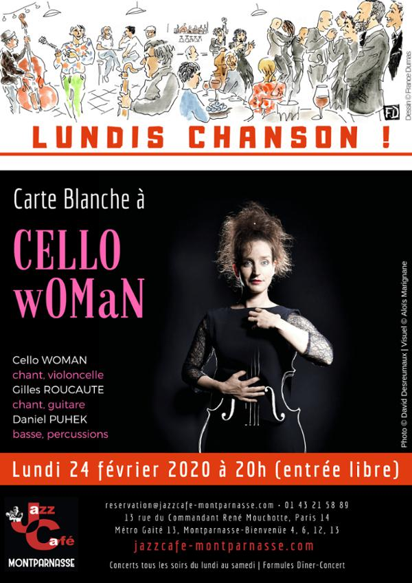 Lundis Chanson ! Carte Blanche à CELLO wOMaN au Jazz Café
